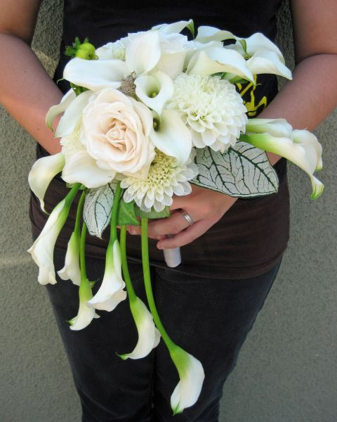 Crescent bouquet made from dahlias, calla lilies and roses accented with AMAZING leaves.