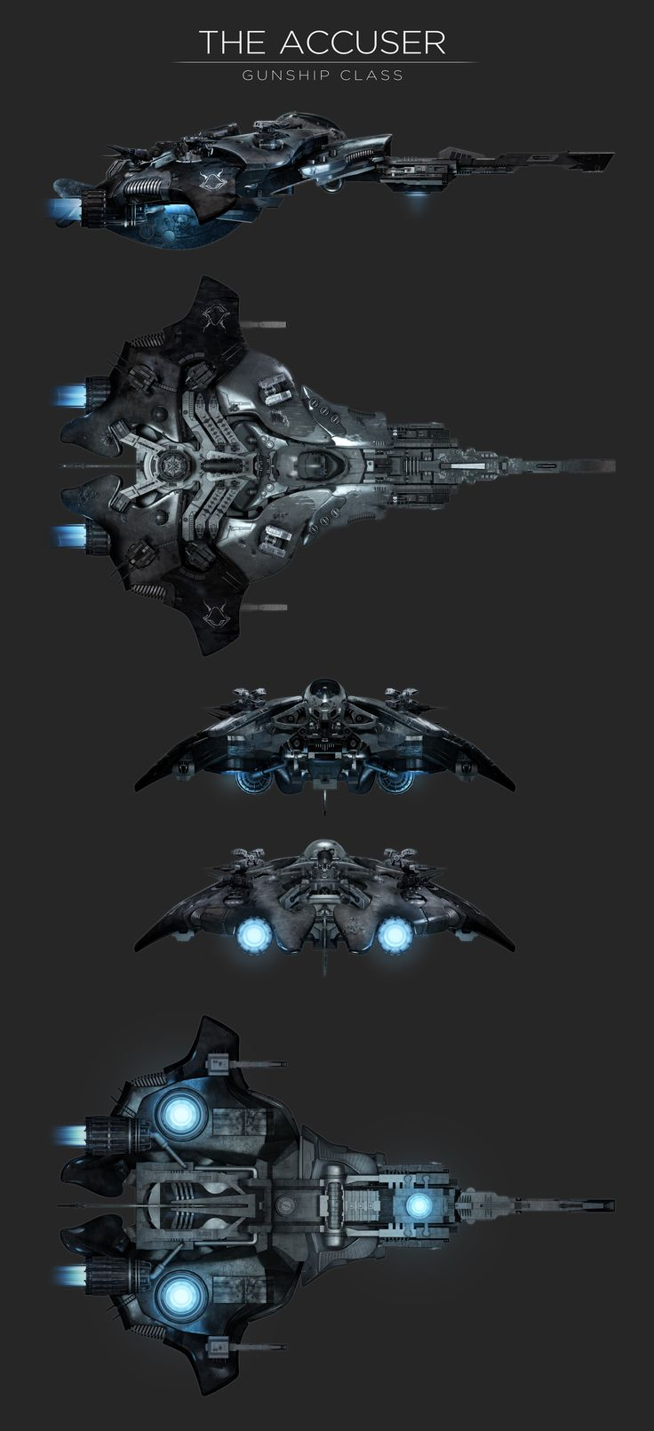 ArtStation - The Accuser - gunship concept design, Mike Luard