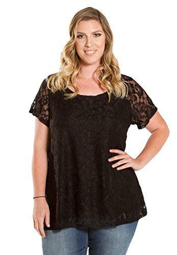 d393f7dda37 Fashion Bug Womens Plus Size Scoop Neck Short Sleeve Lena Lace Top - 6X  Black www.fashionbug.us  plussize  fashionbug  tops