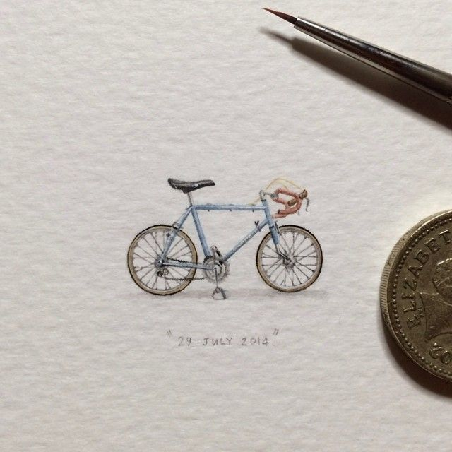 365 Postcards For Ants: Illustrator Creates One Mini Painting Per Day For A Year - Bike