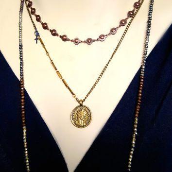 Brass Coin Necklace, Vintage Brass Chain, Gold Brass Layering Necklace, Coin Necklace, Antique Brass Chain Necklace, Antique Style Coin