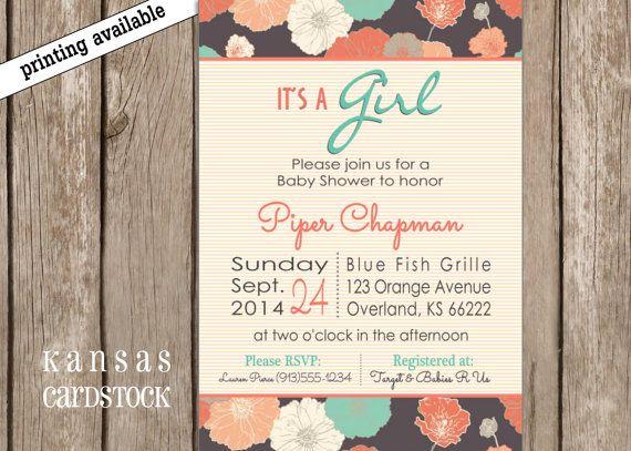 Baby Shower Invitation Girl Aqua Turquoise Pink by KansasCardstock