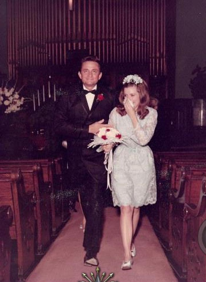 Johnny Cash & June Carter Cash on their wedding day in 1968.