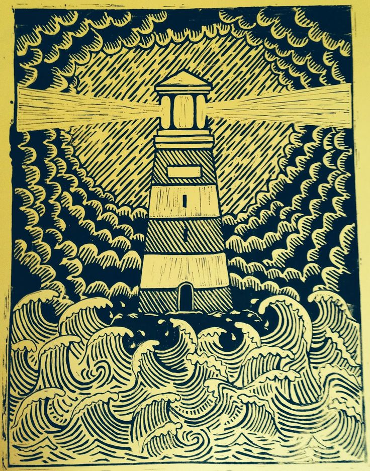 Lighthouse Lino Print.  Check out this blog. It's all about a variety of artwork including linocuts, typography and skateboard artwork.