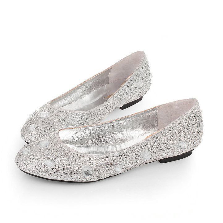 Rhinestone Silver Wedding Evening Party Shoes Flat 1cm For Online