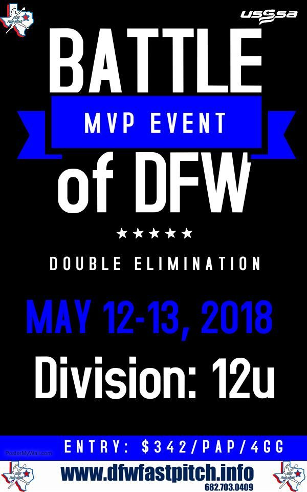 The Battle of DFW 12u is our second state tournament taking place May 12th in DFW.  This State tournament will be a Double Elimination & MVP Event.  http://qoo.ly/kjc53