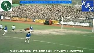 PLYMOUTH ARGYLE FC V EVERTON FC - 1-3 - FA CUP FOURTH ROUND - 25TH JANUARY 1975 -  HOME PARK, PLYMOUTH.