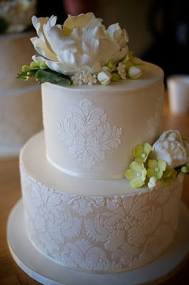 Wish I could have done this for the wedding cake block. Sugarcraft magnolia and hydrangeas. Love the pale green and ivory colors!