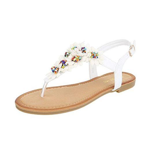Zehentrenner Damen-Schuhe Peep-Toe Blockabsatz Zehentrenner Schnalle Ital-Design Sandalen / Sandaletten Weiß, Gr 38, X06- - Sandalen für frauen (*Partner-Link)