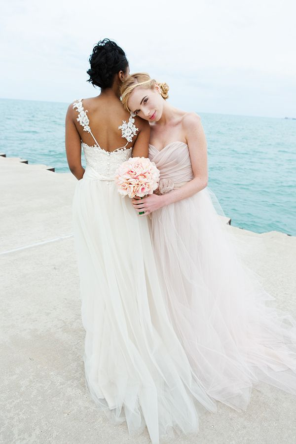 A breezy, beachy bridal shoot showcasing the softly intricate gowns of Mignonette Bridal | Photos by Ashley Y. Venerable