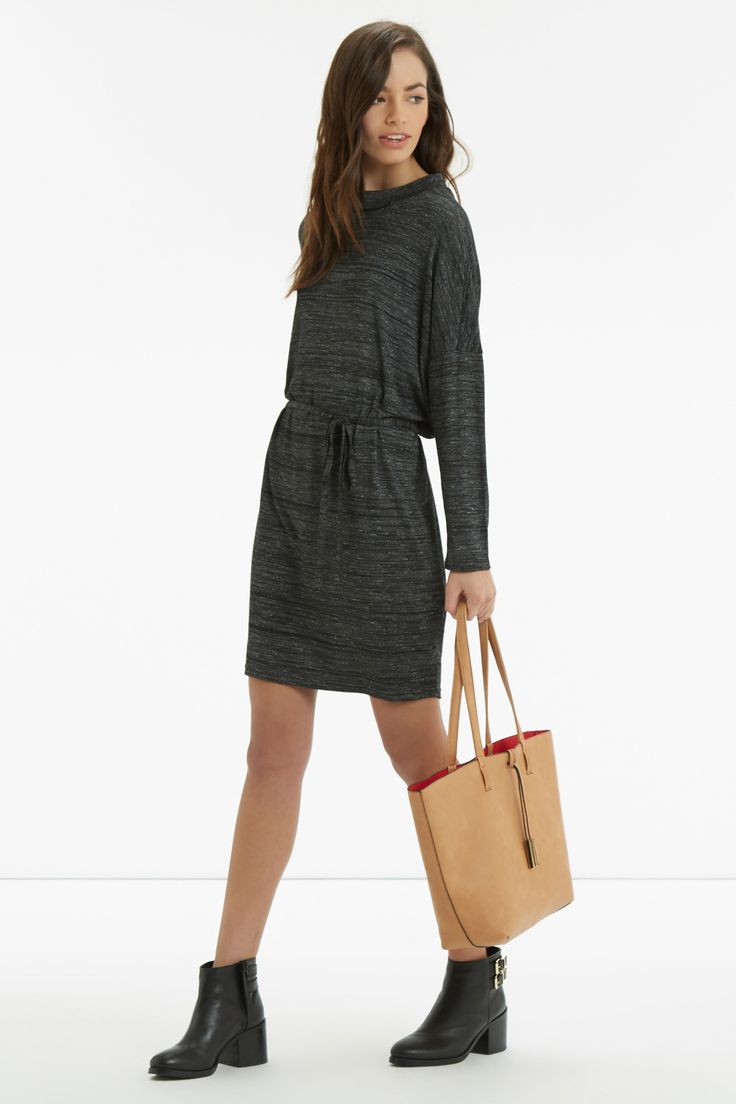 This dress ticks all our style boxes with its on-trend high neck, flattering drawstring waist and slouchy sleeves that scream sport luxe - http://www.oasis-stores.com/marl-sweater-dress/sunday-girl/oasis/fcp-product/5656215?cm_sp=Social-_-Feature-_-MPSSundayGirl