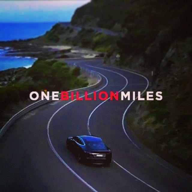 One Billion Miles!  #tesla #modelS #P85D #Performance #ev #zeroemission #sportscar #paloalto #california #usa #insane #instacar #vsco #potd #coast #ocean #billion #miles #beach #amazing #landscape #tsla #germany #düsseldorf #teslamotors #teslarama