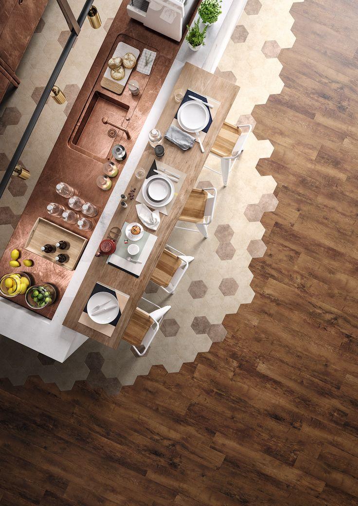 Luxe vinyl vloer in keuken met Hexagon dessin en hout. Moduleo Moods