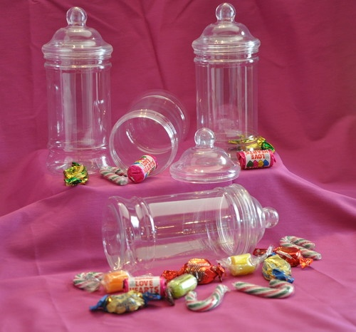 10 Empty Retro Victorian Style Plastic Sweet Jars With Screw Top Lid (500ml)