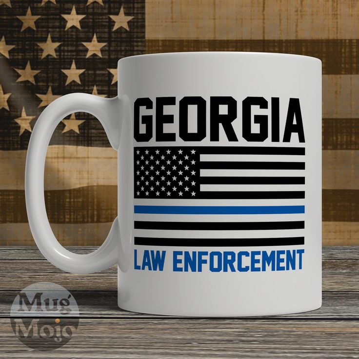 Georgia Police Officer Mug - Thin Blue Line American Flag - USA Georgia Law Enforcement - Custom Ceramic Coffee Mug by MugMojo on Etsy