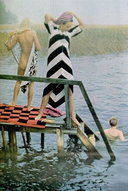 I've posted this orgionally for the research on the end product - the Marimekko dress featured in this photo, but I'm actually commenting on the fantastic design of this LIFE Magazine photoshoot . Published in the June 24, 1966 edition, the photo has a cult like status as it demonstrates the sexual freedom of the era. Embracing freedom breaking away of the constraints of society is an important element of the Marimekko brand, and this photoshoot shares this vision and brand value perfectly.