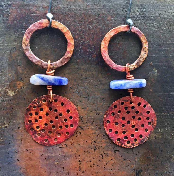 Copper warrior hoop earrings w/ red oxidised copper/ blue Sodalite beads/ modern boho/ tribal style/ lightweight/ stylish/ Gifts for her by CopperLarkStudio on Etsy