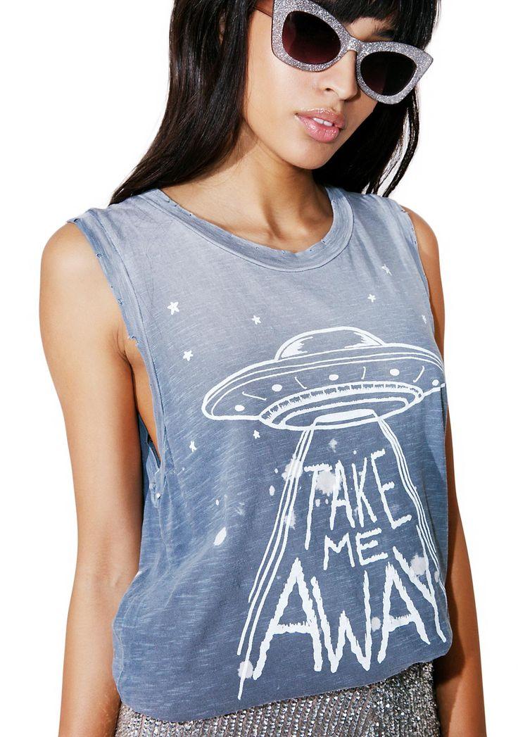 Junk Food Clothing Take Me Away Tank. space ship alien tank
