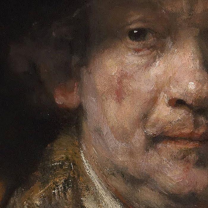 Rembrandt, Autoportrait (détail), 1658.