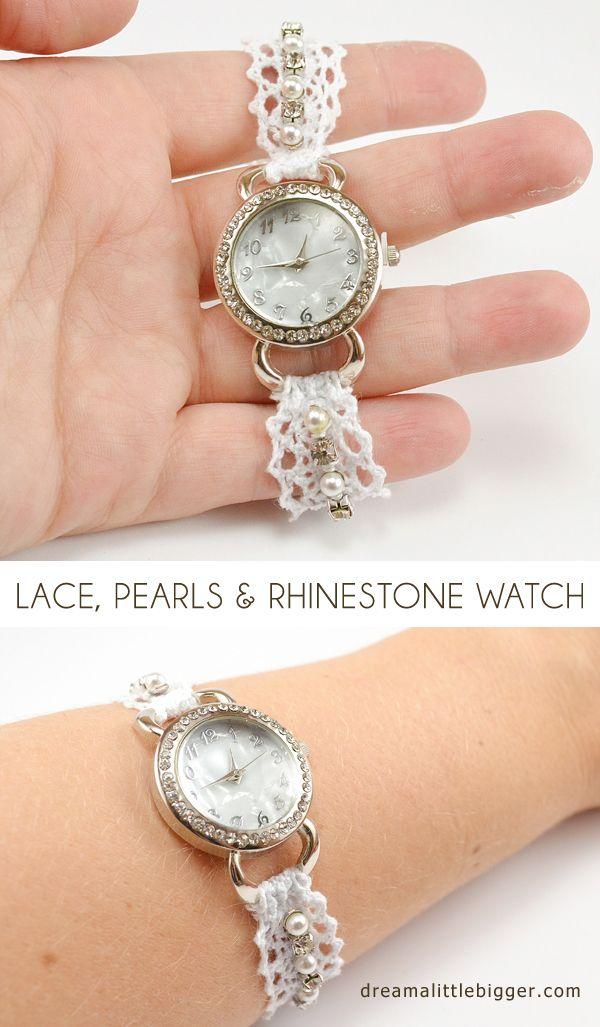 Lace, Pearl and Rhinestone Watch DIY