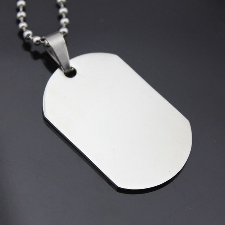 Military Army Style Silver Tone Polished Dog Tag Men Women Stainless Steel Pendant Long Beads Chain Choker Necklace Jewelry