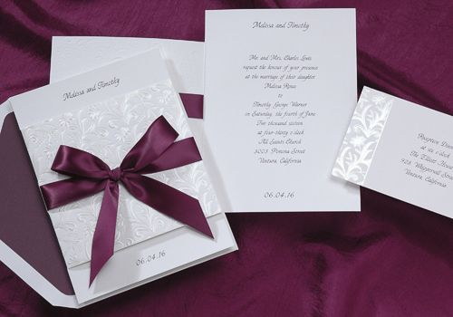 Purple Wedding Ideas - Mulberry Ribbon Wedding Invitations by Occasions In Print (Invitation Link - http://www.occasionsinprint.yourinvitationplace.com/Detail.aspx?ItemNum=T3704ML&WebName=occasionsinprint)