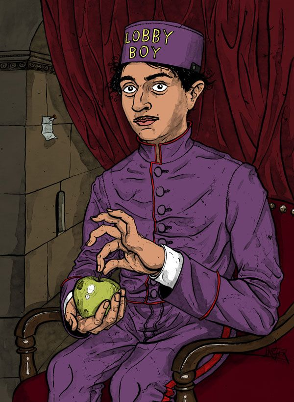 Lobby Boy with Apple from cussyeahwesanderson on tumblr