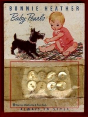 Bonnie Heather Pearl Buttons Card Baby & Scottie Dog