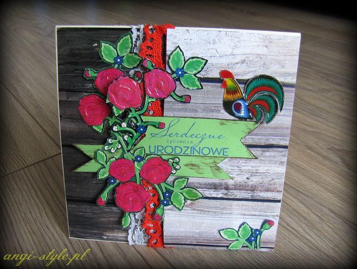 folkowa kartka Angi Style gościnnej projektantki Bee Scrap, folk card made by Angi Style Bee Scrap guest designer