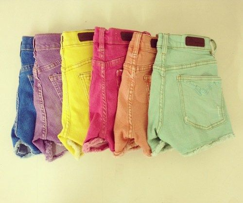 colored high wasted shorts