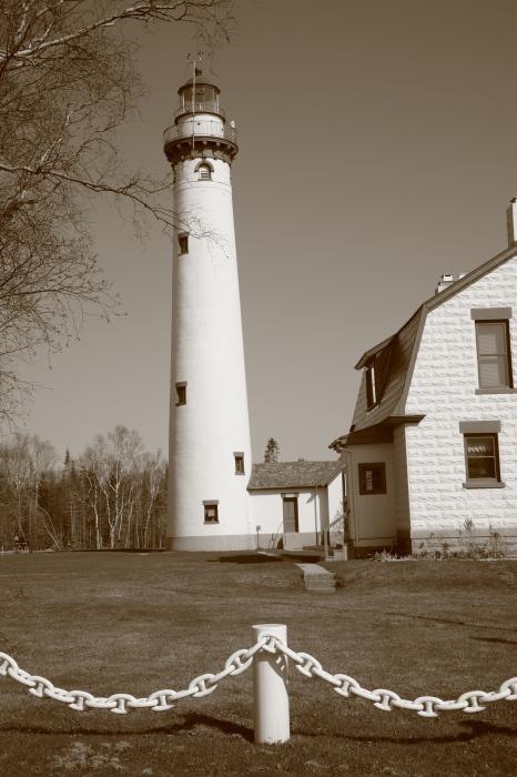 Lighthouse - Presque Isle, Michigan, on Lake Huron. In sepia.