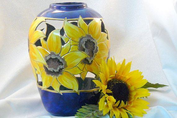 Ceramic Large Sunflower Vase Sunflowers Vase And Sunflower Kitchen