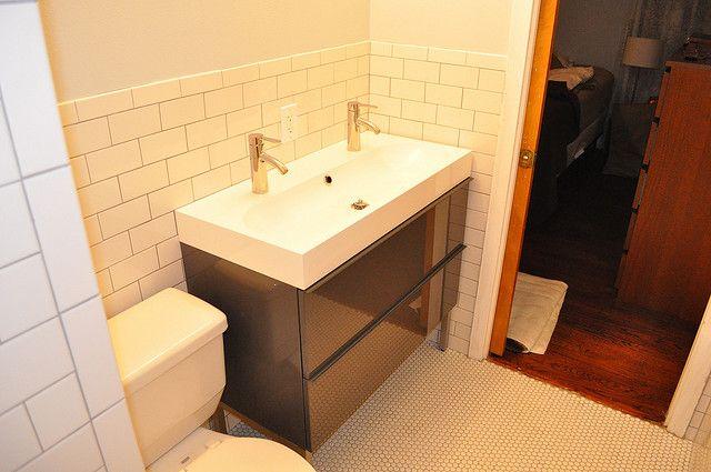ikea vanity in grey lacquer. #ikea #vanity #bathroom