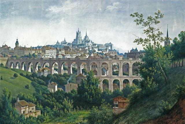 Vue sur les deux rangées d'arches du Grand-Pont dans les années 1844-47, depuis le sud-ouest. Au premier plan, le verdoyant vallon du Flon. Au fond, de gauche à droite, on aperçoit le clocher de l'église Saint-Laurent, la cathédrale et, tout à droite, la flèche de l'église Saint-François. Image: Musée historique de Lausanne