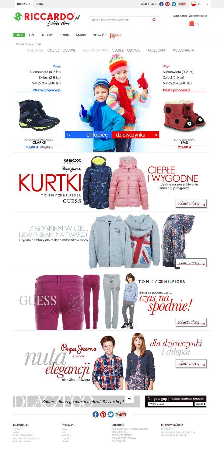 Kids fashion web page on e-store Riccardo.pl