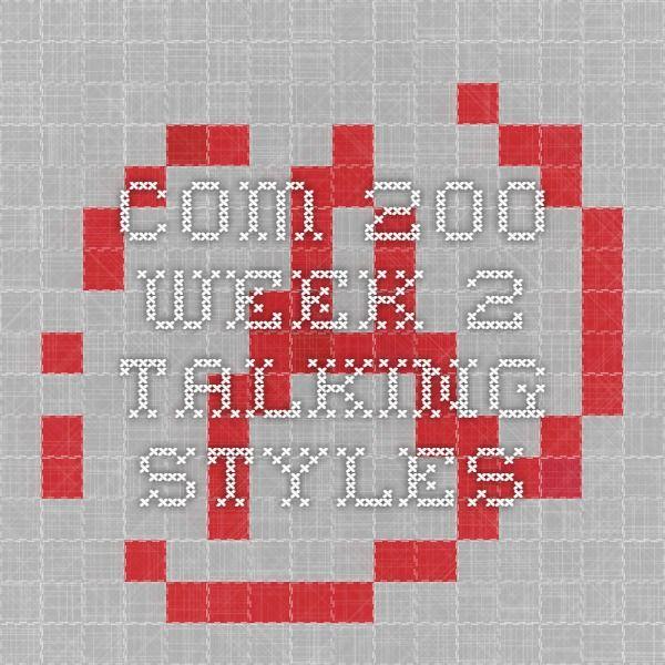COM 200 Week 2 Talking Styles