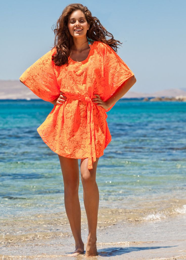 Neon Orange Lace Dress Paolita Swimsuits And Beachwear | Peachy Beachy | Pinterest | Lace Lace ...