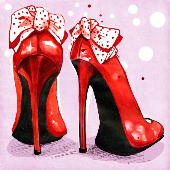 Lisa Buckridge red shoes  illustration fashion sketch