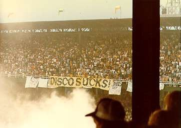Disco Demolition Night on July 12, 1979, at Comiskey Park in Chicago: at the climax, a crate filled with disco records was blown up.