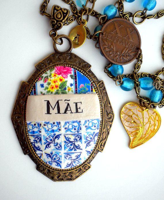 Portugal Antique Azulejo Tile Replica Necklace Mothers by Atrio,