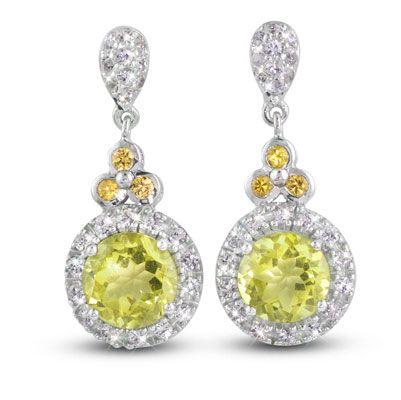 """Angelique Lemon Quartz"" Earrings Sterling Silver 2 x 8mm Round Lemon Quartz, 3.74ct each 6 x Yellow Sapphires, 0.26tcw 48 x White Sapphires, 0.85tcw $630"