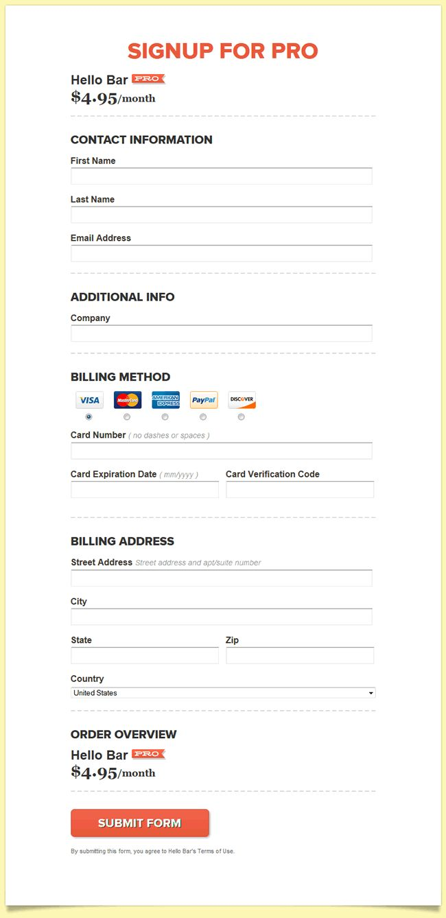 Everything in one page - Account info + credit card