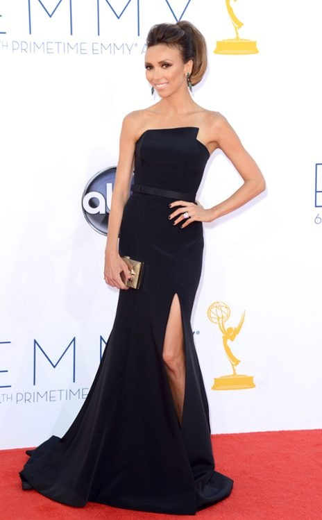 Emmy Awards 2012, Giuliana Rancic.  Modest isn't necessarily boring.  Basic black but just right.