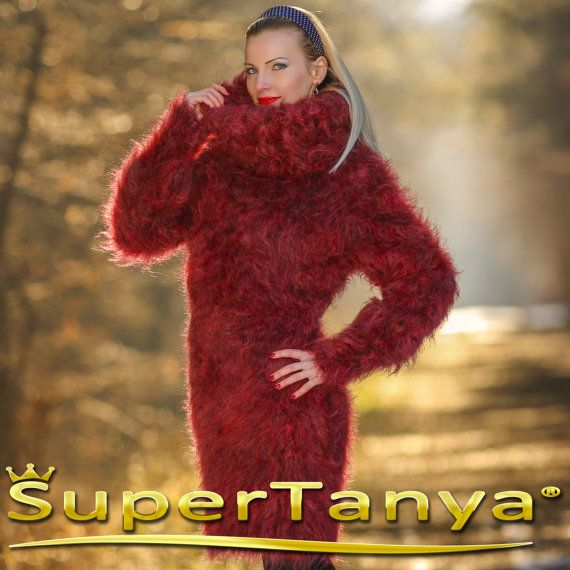 Soft and fuzzy hand knitted turtleneck mohair sweater dress in marsala melange color by SuperTanya