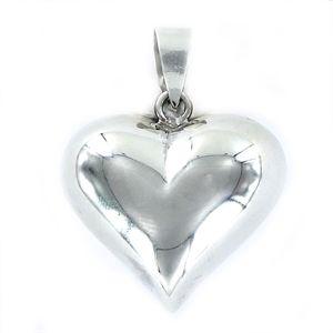 Colgante Love de plata corazón inflado de 30 mm