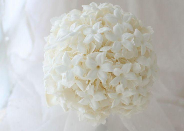 ブーケ ラウンド プリザーブド ジャスミン : 一会 ウエディングの花