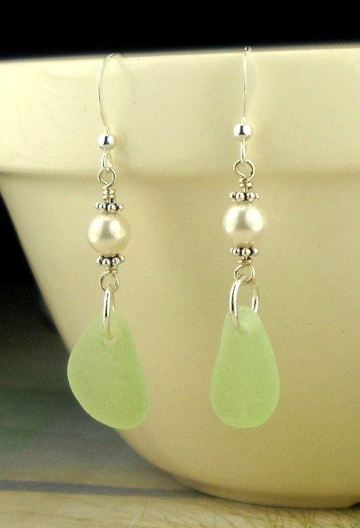 GENUINE Sea Foam Sea Glass Earrings Eco by seaglassgems4you, $48.00