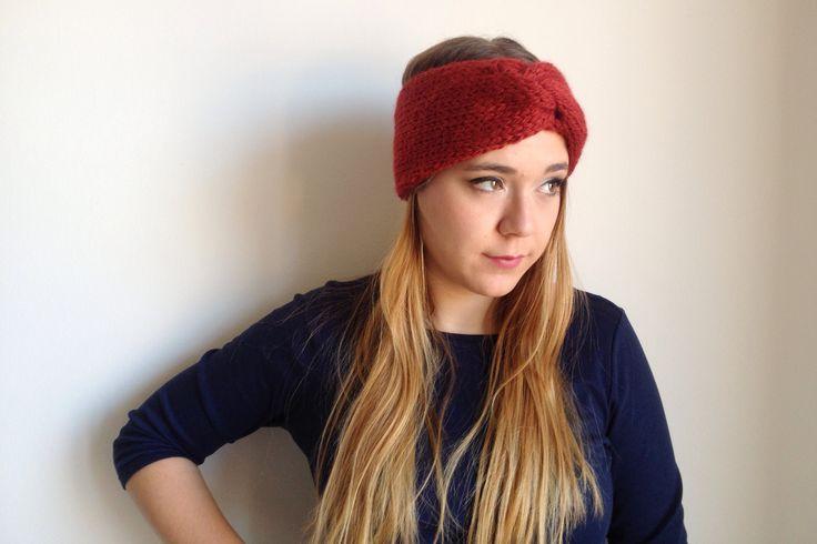 Fascia Turbante rosso bordeaux in lana e alpaca fatta a maglia : Accessori per capelli di dolcedormire