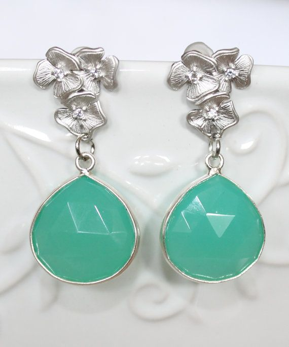Chrysoprase Green Chalcedony Drops in Sterling Silver by NHjewel, $56.00
