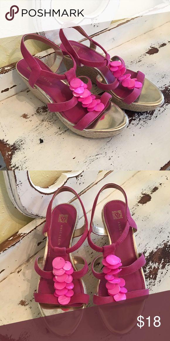 Anne Klein Hot Pink Wedge Sandals Anne Klein hot pink wedge sandals, perfect for Spring! Size 7. Anne Klein Shoes Platforms